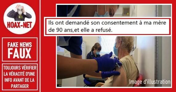 Non, une pensionnaire de 90 ans qui aurait refusé le vaccin ne sera pas mise à l'écart dans un Ehpad.