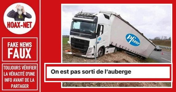 Non, cette photo n'est pas celle de l'accident d'un camion Pfizer.