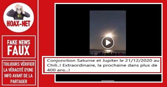 Non, cette vidéo n'est pas la conjonction de Jupiter et de Saturne au Chili en 2020.