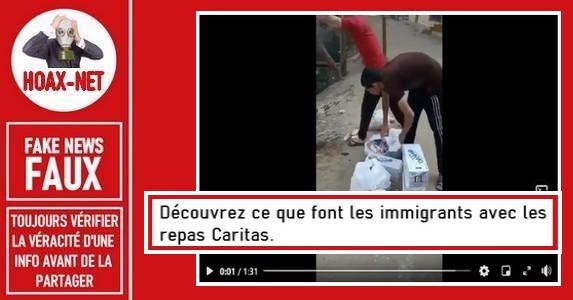 Non, ce ne sont pas des migrants qui jettent des repas de «Caritas» dans une rivière.