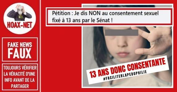 Non, il n'est pas question d'un consentement sexuel  à 13 ans adopté par le Sénat.