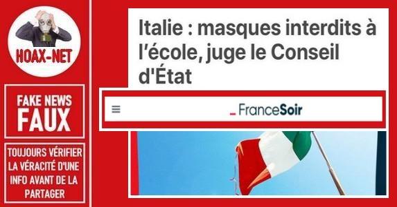 Non, le port du masque n'a pas été interdit dans les écoles en Italie.