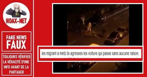 Non,ce ne sont pas des migrants détruisant des voitures à Metz.