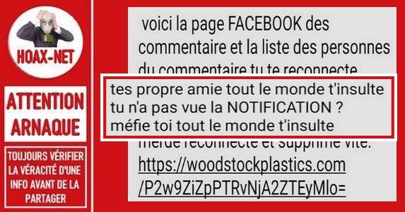 Attention, ce message partagé sur Facebook est frauduleux.
