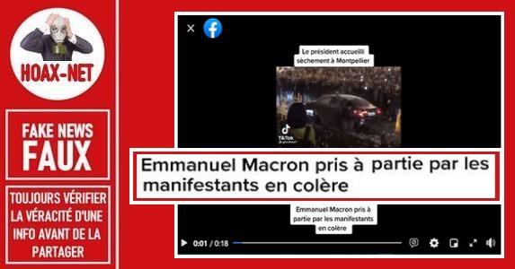 Non, ce n'est pas la voiture d'Emmanuel Macron prise à partie par des manifestants à Montpellier.