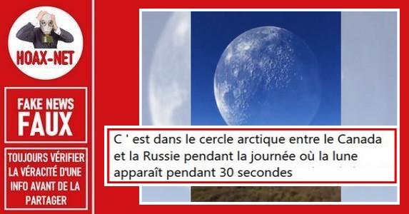 Non, il n'y a pas de lune gigantesque pendant 30 secondes entre la Russie et le Canada.