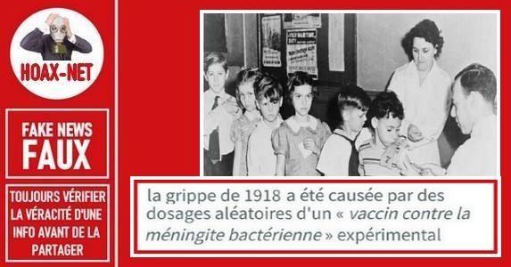 Non, un vaccin n'a pas été a l'origine de la grippe espagnole de 1918.
