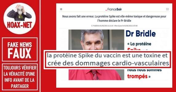 Non, La protéine de pointe (ou «spike» en anglais) n'est pas toxique comme le déclare le Dr.Bridle.