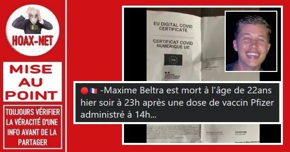 A l'heure actuelle, rien ne prouve que le décès de Maxime Beltra soit lié au vaccin «Pfizer».