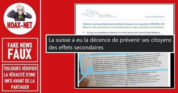 Non, en Suisse il ne faut pas signer un document de consentement avant une vaccination.