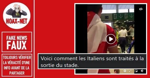 Non, cette vidéo ne montre pas des supporters italiens attaqués par des fans anglais après la finale de l'Euro 2020.