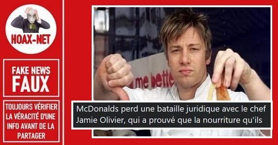 Non, Jamie Oliver n'a pas intenté ou gagné de procès contre McDonald's.