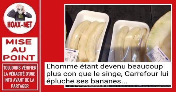 MISE AU POINT- Les bananes épluchées vendues emballées sous plastique.